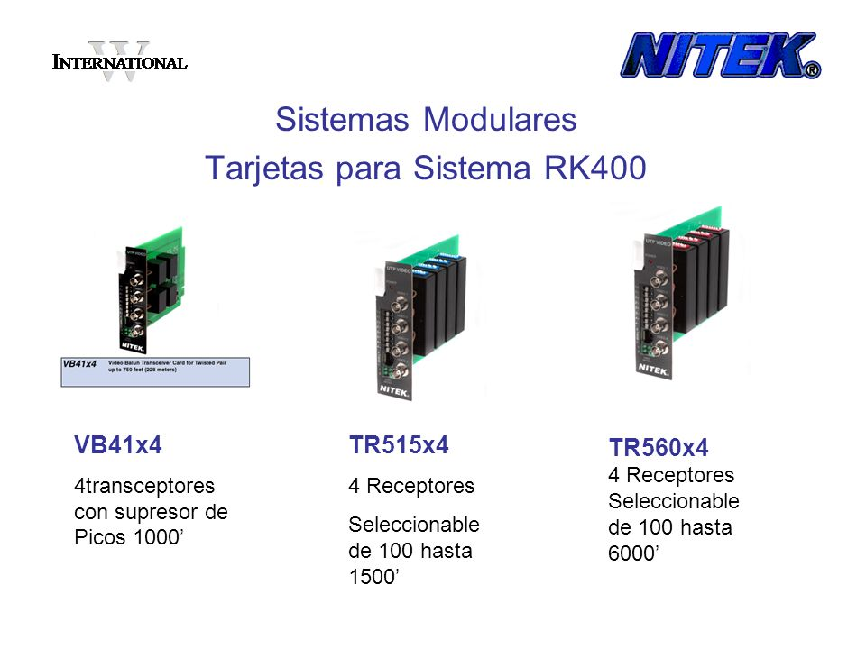 EX1120RR 1 Receptor Seleccionable de 100 hasta 12,000 DA422 Distribución de Data 1 entrada 4 salida Sistemas Modulares Tarjetas para Sistema RK400