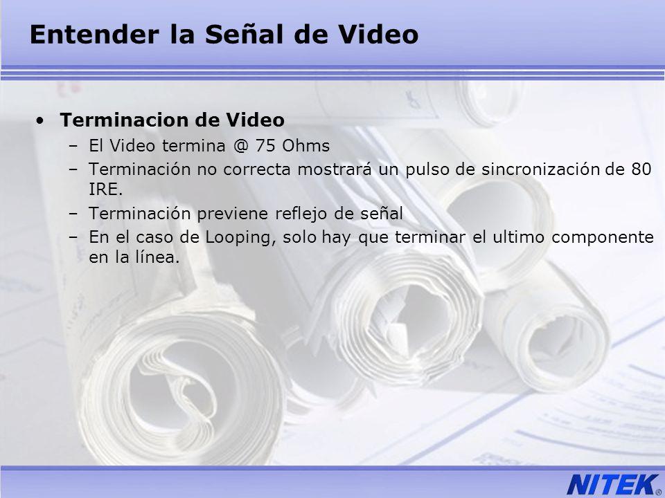 Entender la Señal de Video Terminacion de Video –El Video termina @ 75 Ohms –Terminación no correcta mostrará un pulso de sincronización de 80 IRE. –T