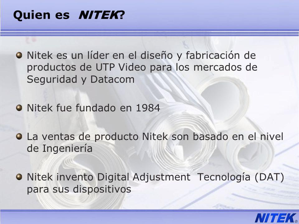 Quien es NITEK ? Nitek es un líder en el diseño y fabricación de productos de UTP Video para los mercados de Seguridad y Datacom Nitek fue fundado en