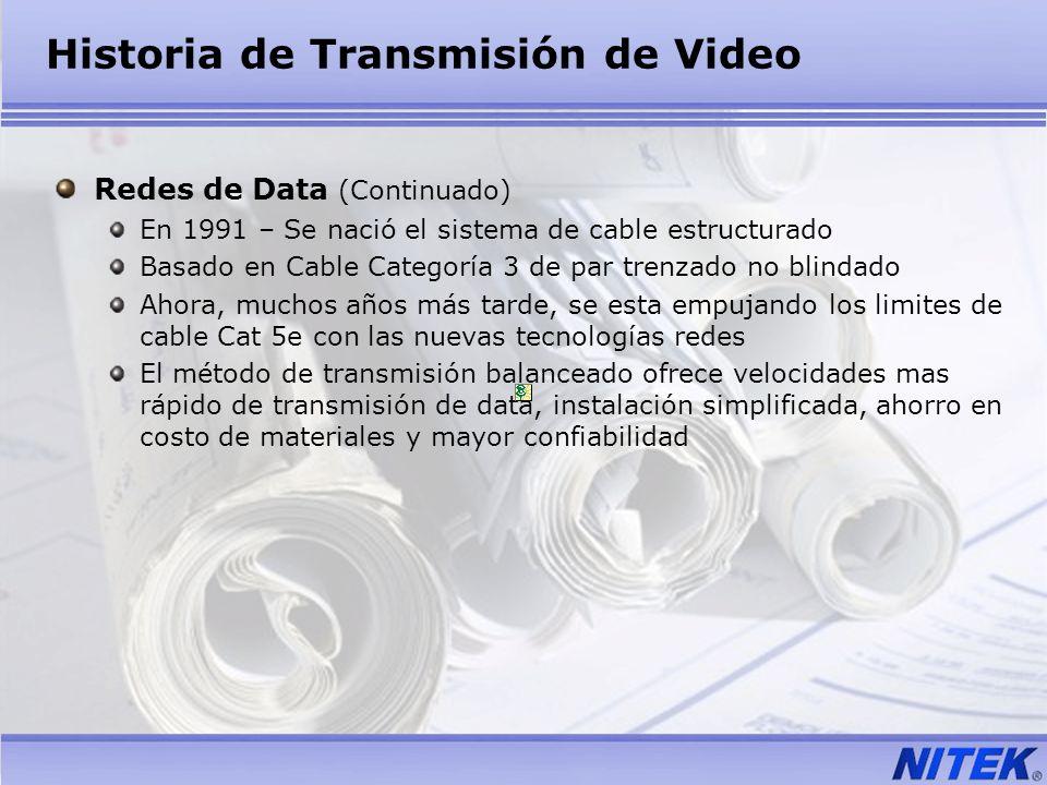 Historia de Transmisión de Video Redes de Data (Continuado) En 1991 – Se nació el sistema de cable estructurado Basado en Cable Categoría 3 de par tre