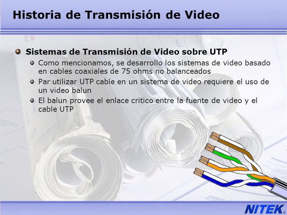 Historia de Transmisión de Video Sistemas de Transmisión de Video sobre UTP Como mencionamos, se desarrollo los sistemas de video basado en cables coa