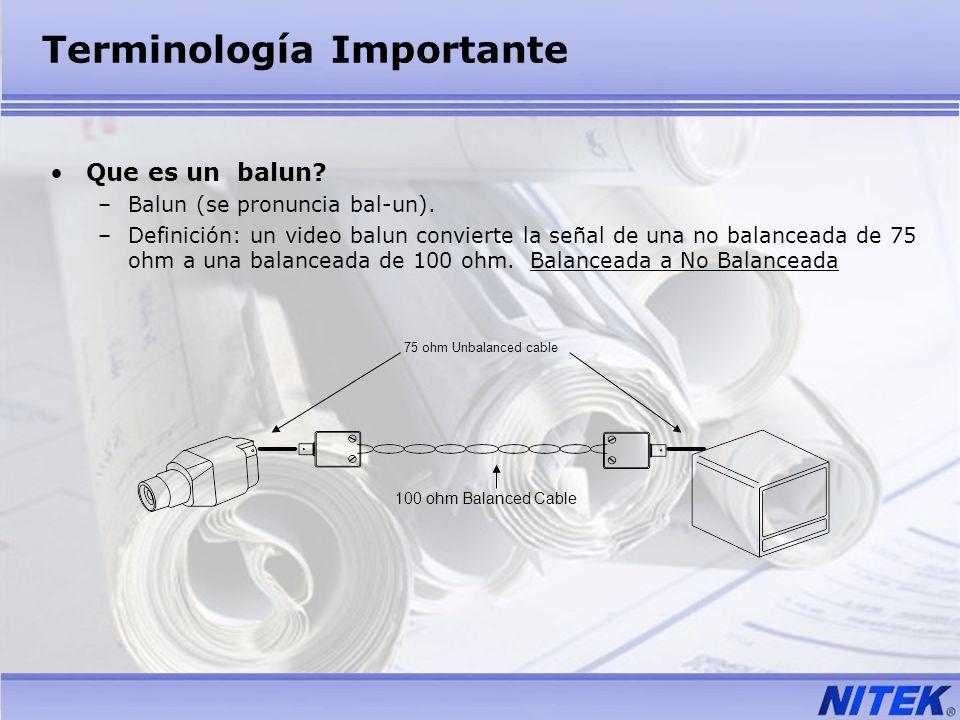 Terminología Importante Que es un balun? –Balun (se pronuncia bal-un). –Definición: un video balun convierte la señal de una no balanceada de 75 ohm a