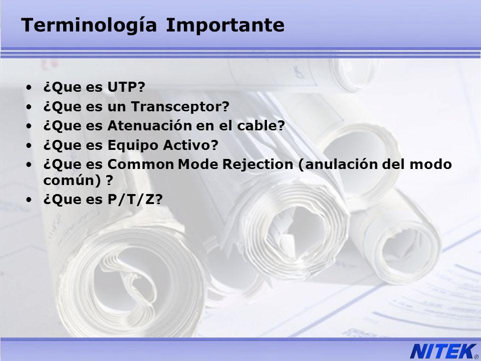 Terminología Importante ¿Que es UTP? ¿Que es un Transceptor? ¿Que es Atenuación en el cable? ¿Que es Equipo Activo? ¿Que es Common Mode Rejection (anu