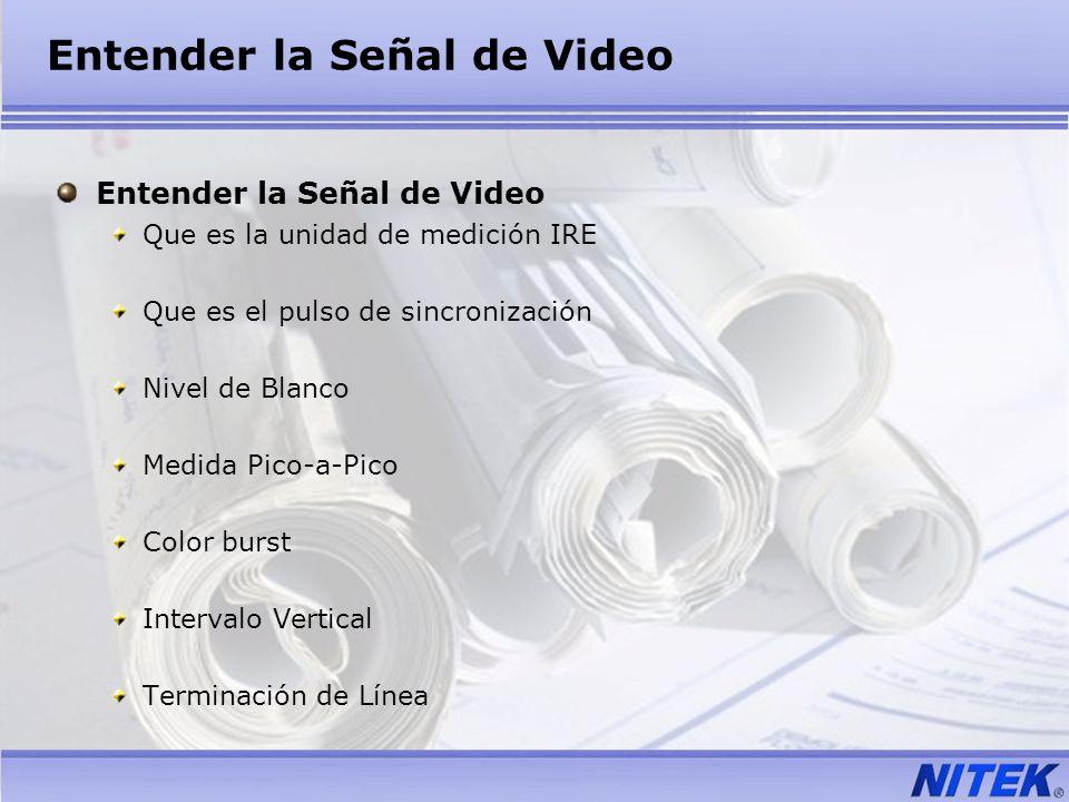 Entender la Señal de Video Que es la unidad de medición IRE Que es el pulso de sincronización Nivel de Blanco Medida Pico-a-Pico Color burst Intervalo