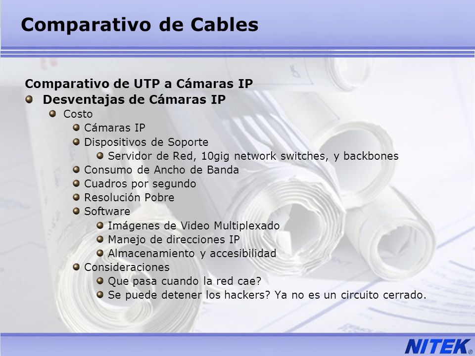 Comparativo de Cables Comparativo de UTP a Cámaras IP Desventajas de Cámaras IP Costo Cámaras IP Dispositivos de Soporte Servidor de Red, 10gig networ