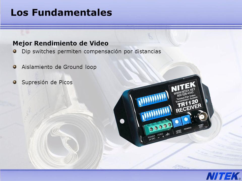 Los Fundamentales Mejor Rendimiento de Video Dip switches permiten compensación por distancias Aislamiento de Ground loop Supresión de Picos