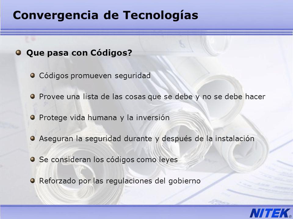 Convergencia de Tecnologías Que pasa con Códigos? Códigos promueven seguridad Provee una lista de las cosas que se debe y no se debe hacer Protege vid
