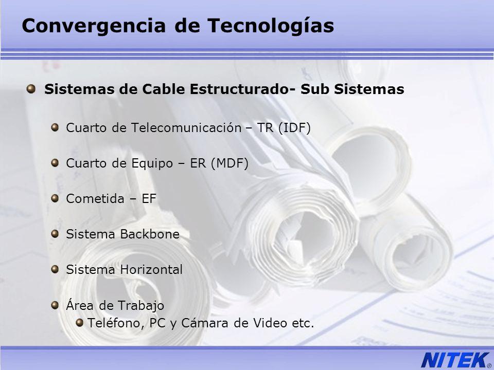 Convergencia de Tecnologías Sistemas de Cable Estructurado- Sub Sistemas Cuarto de Telecomunicación – TR (IDF) Cuarto de Equipo – ER (MDF) Cometida –