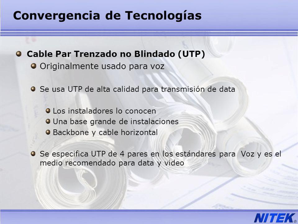 Convergencia de Tecnologías Cable Par Trenzado no Blindado (UTP) Originalmente usado para voz Se usa UTP de alta calidad para transmisión de data Los