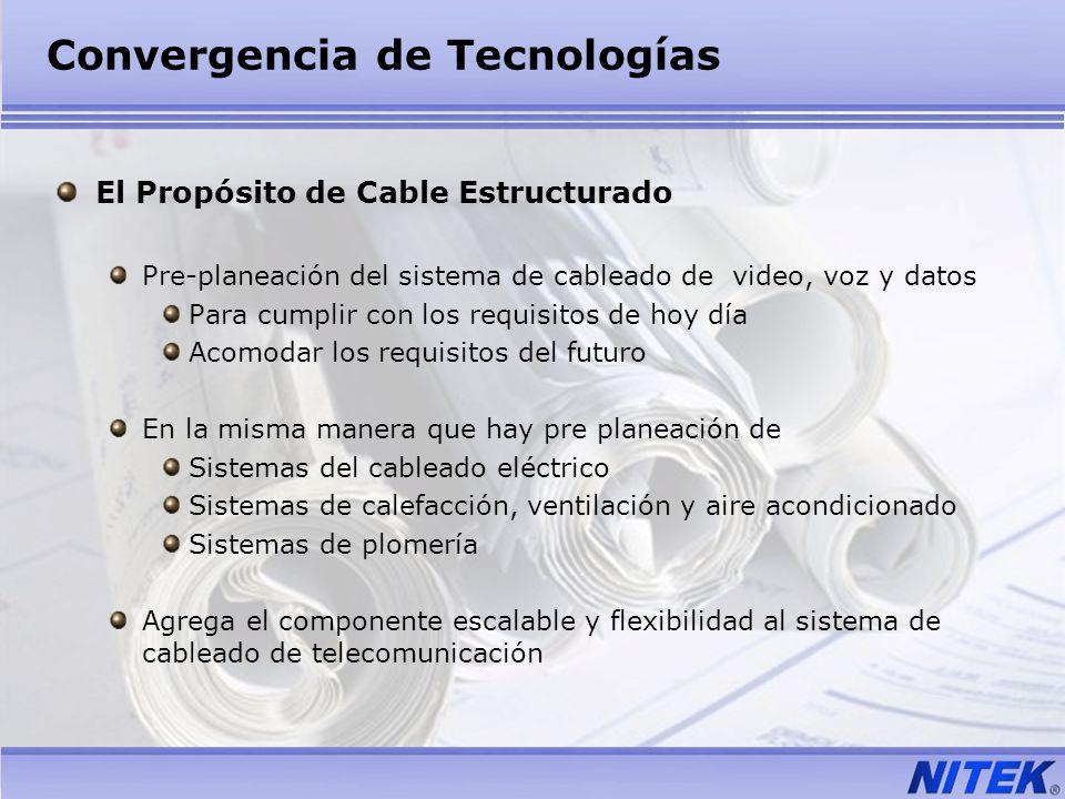 Convergencia de Tecnologías El Propósito de Cable Estructurado Pre-planeación del sistema de cableado de video, voz y datos Para cumplir con los requi