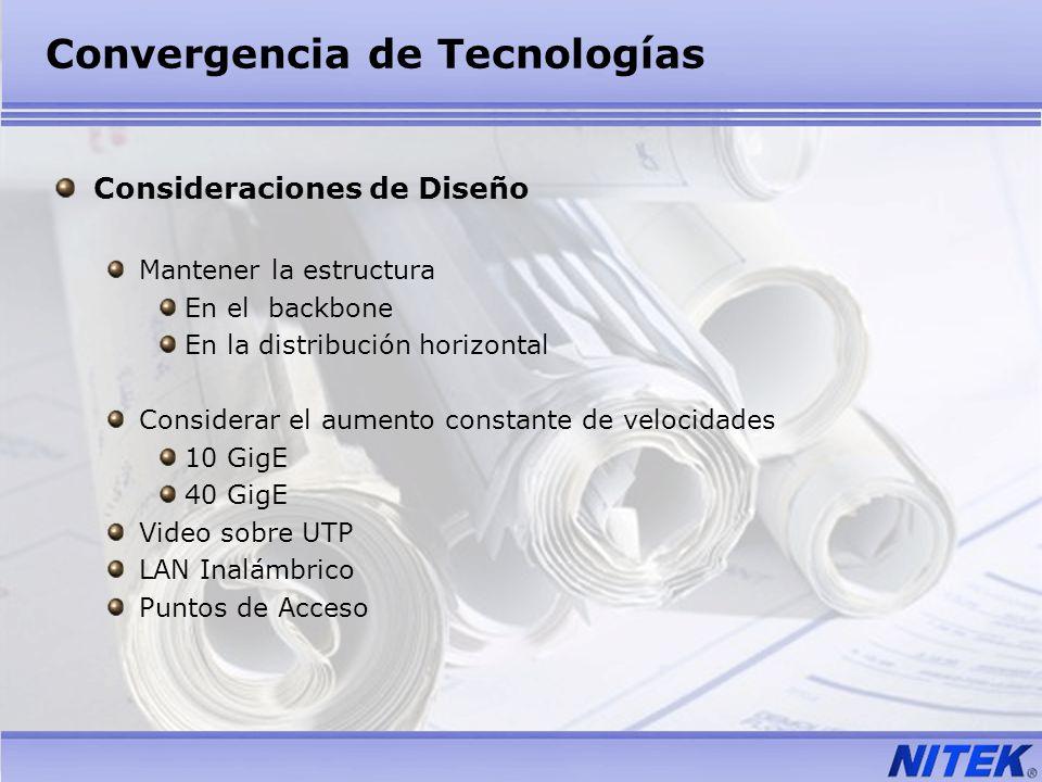Convergencia de Tecnologías Consideraciones de Diseño Mantener la estructura En el backbone En la distribución horizontal Considerar el aumento consta