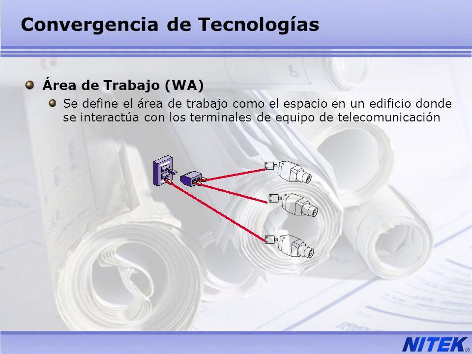 Convergencia de Tecnologías Área de Trabajo (WA) Se define el área de trabajo como el espacio en un edificio donde se interactúa con los terminales de