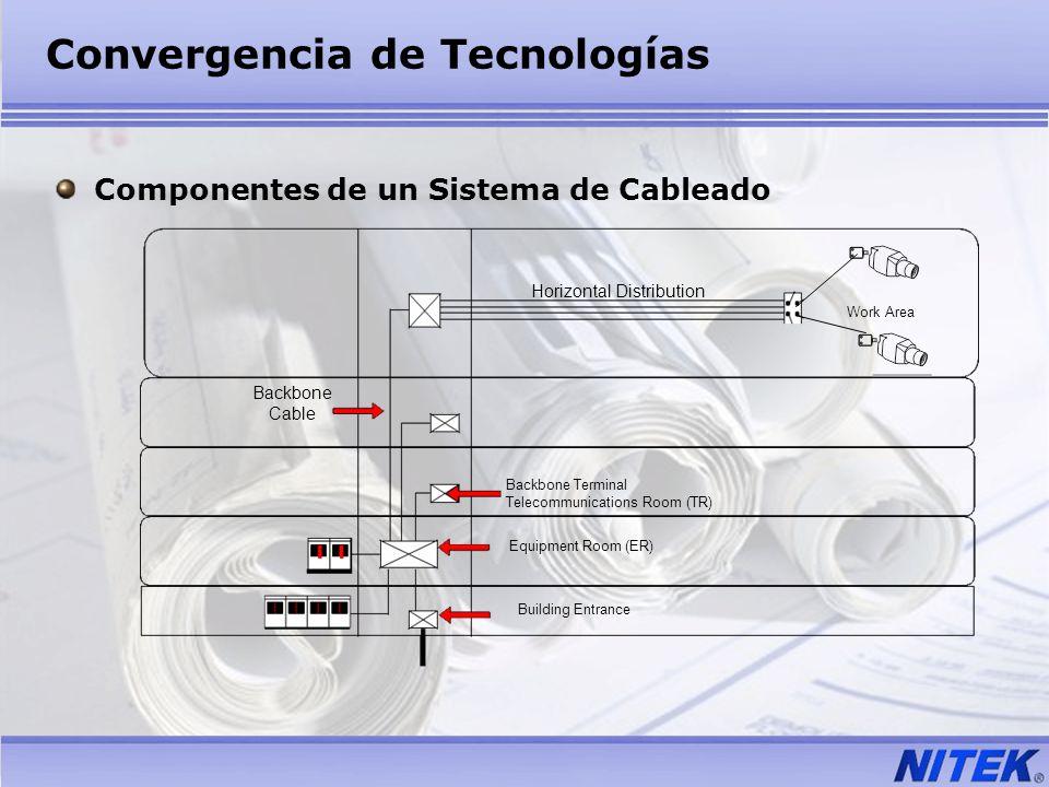 Convergencia de Tecnologías Componentes de un Sistema de Cableado Backbone Cable Horizontal Distribution Backbone Terminal Telecommunications Room (TR