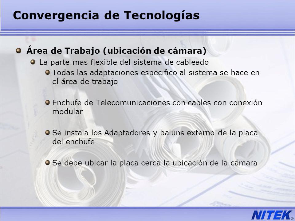 Convergencia de Tecnologías Área de Trabajo (ubicación de cámara) La parte mas flexible del sistema de cableado Todas las adaptaciones especifico al s