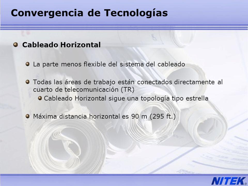 Convergencia de Tecnologías Cableado Horizontal La parte menos flexible del sistema del cableado Todas las áreas de trabajo están conectados directame