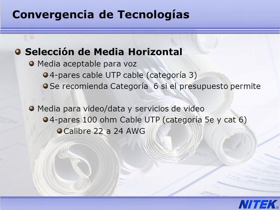 Convergencia de Tecnologías Selección de Media Horizontal Media aceptable para voz 4-pares cable UTP cable (categoría 3) Se recomienda Categoría 6 si