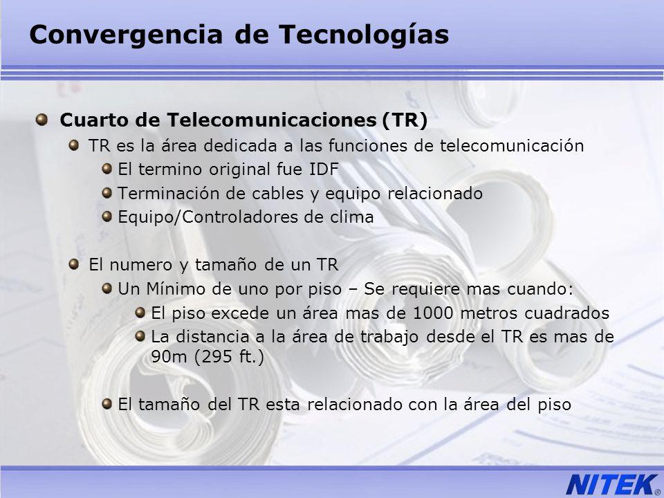 Convergencia de Tecnologías Cuarto de Telecomunicaciones (TR) TR es la área dedicada a las funciones de telecomunicación El termino original fue IDF T