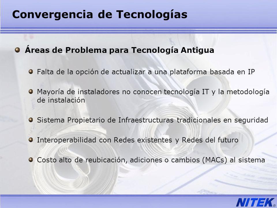 Convergencia de Tecnologías Áreas de Problema para Tecnología Antigua Falta de la opción de actualizar a una plataforma basada en IP Mayoría de instal