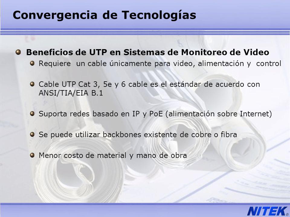 Convergencia de Tecnologías Beneficios de UTP en Sistemas de Monitoreo de Video Requiere un cable únicamente para video, alimentación y control Cable