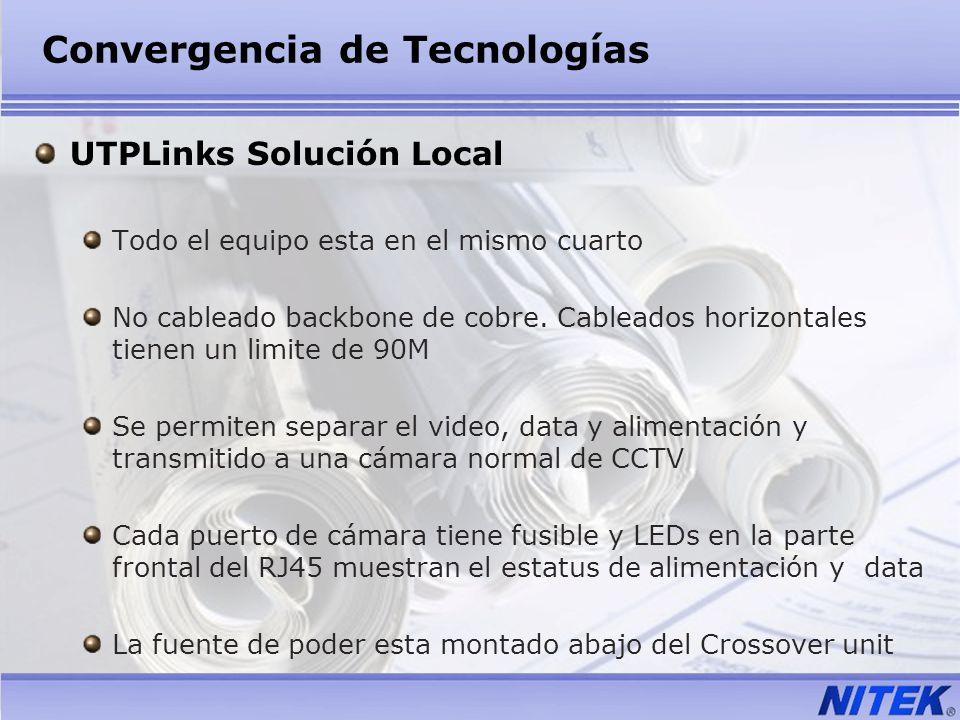 Convergencia de Tecnologías UTPLinks Solución Local Todo el equipo esta en el mismo cuarto No cableado backbone de cobre. Cableados horizontales tiene
