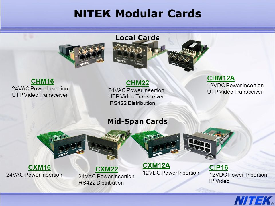 Local Cards Mid-Span Cards CHM16 24VAC Power Insertion UTP Video Transceiver CHM22 24VAC Power Insertion UTP Video Transceiver RS422 Distribution CHM1