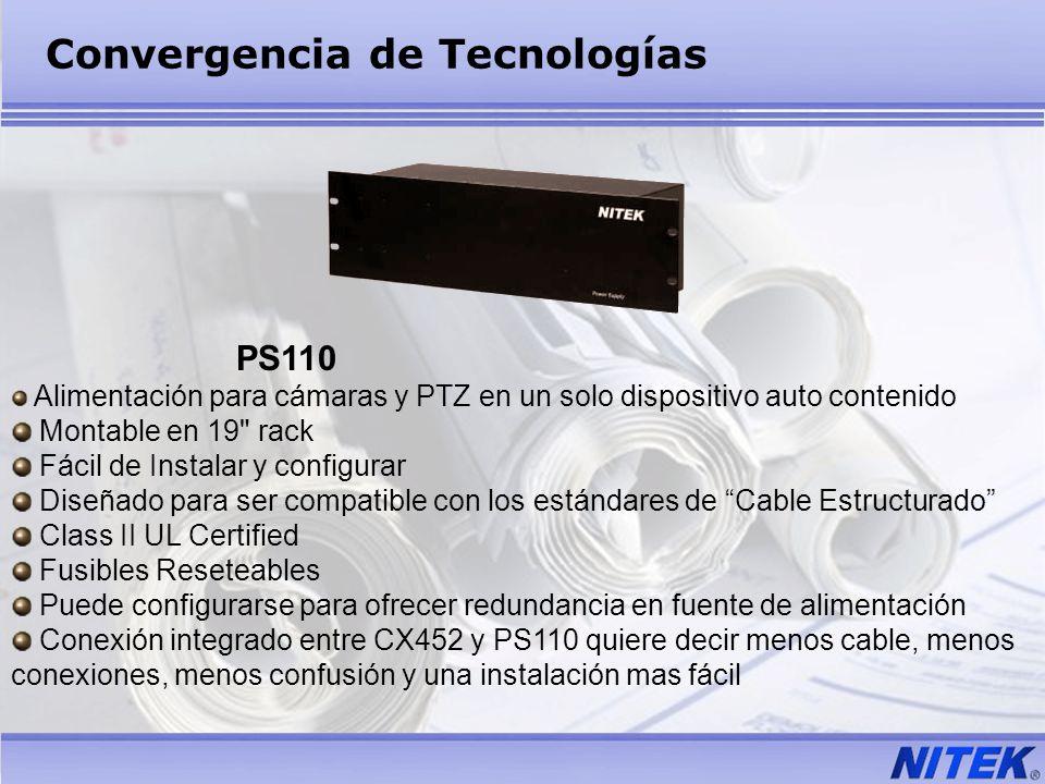 PS110 Alimentación para cámaras y PTZ en un solo dispositivo auto contenido Montable en 19