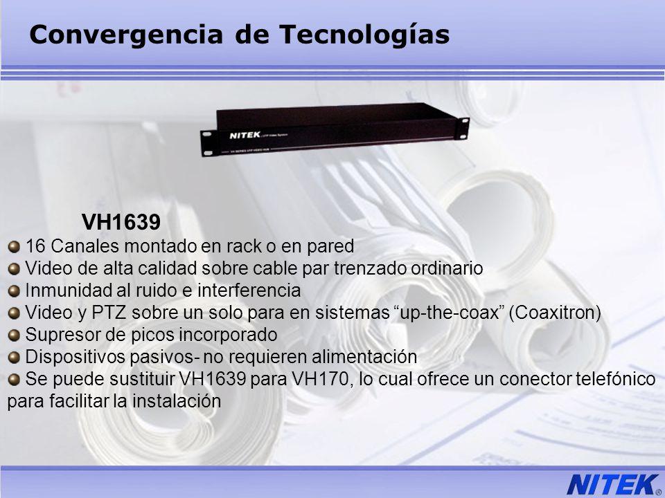 VH1639 16 Canales montado en rack o en pared Video de alta calidad sobre cable par trenzado ordinario Inmunidad al ruido e interferencia Video y PTZ s