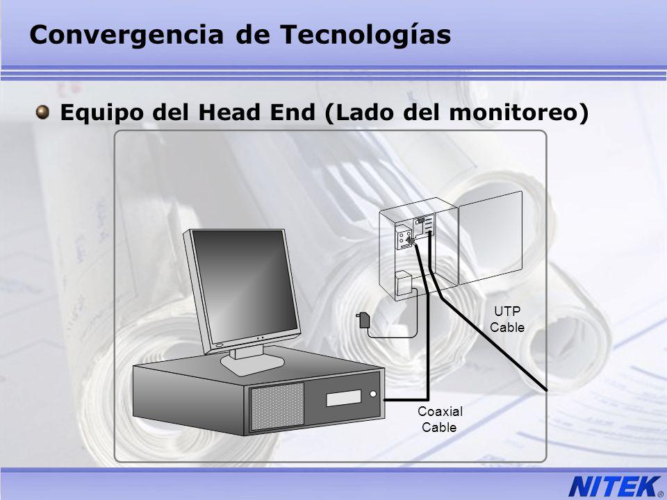 Convergencia de Tecnologías Equipo del Head End (Lado del monitoreo) UTP Cable Coaxial Cable