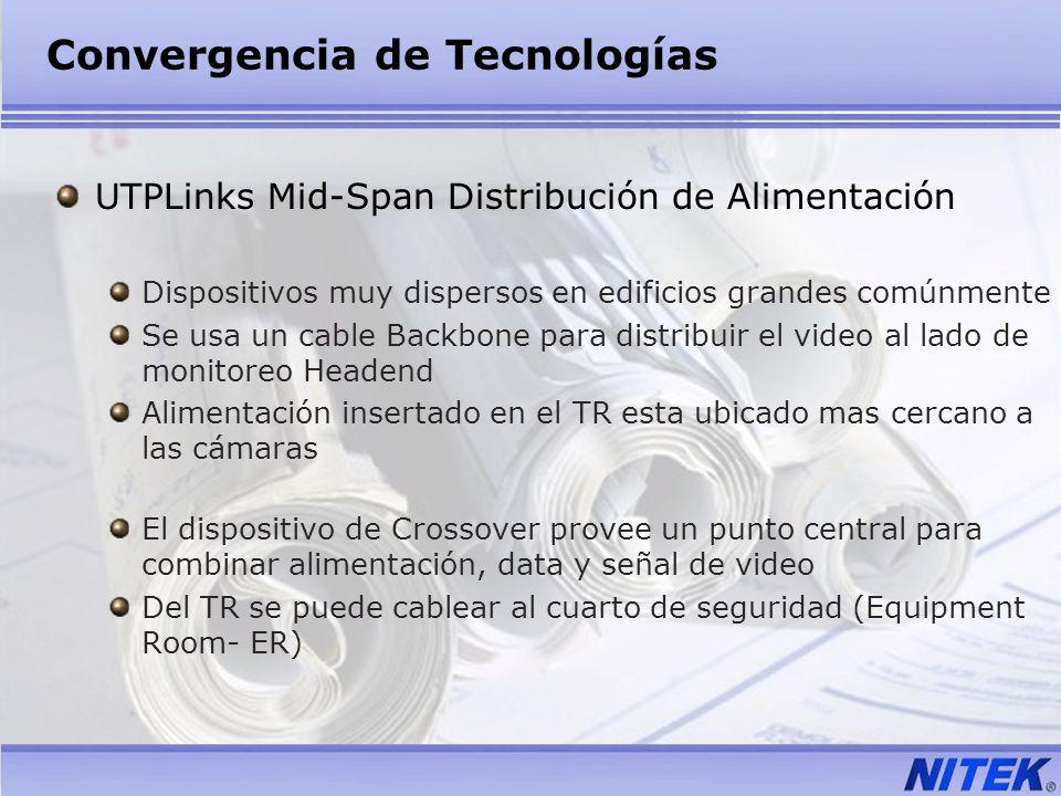 Convergencia de Tecnologías UTPLinks Mid-Span Distribución de Alimentación Dispositivos muy dispersos en edificios grandes comúnmente Se usa un cable