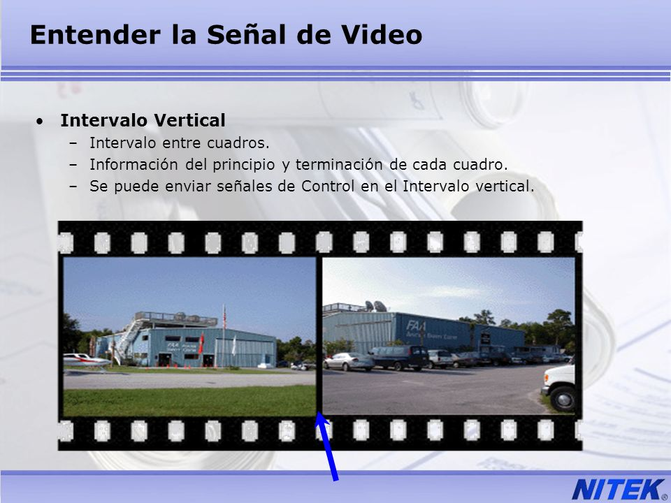 Entender la Señal de Video Intervalo Vertical –Intervalo entre cuadros. –Información del principio y terminación de cada cuadro. –Se puede enviar seña