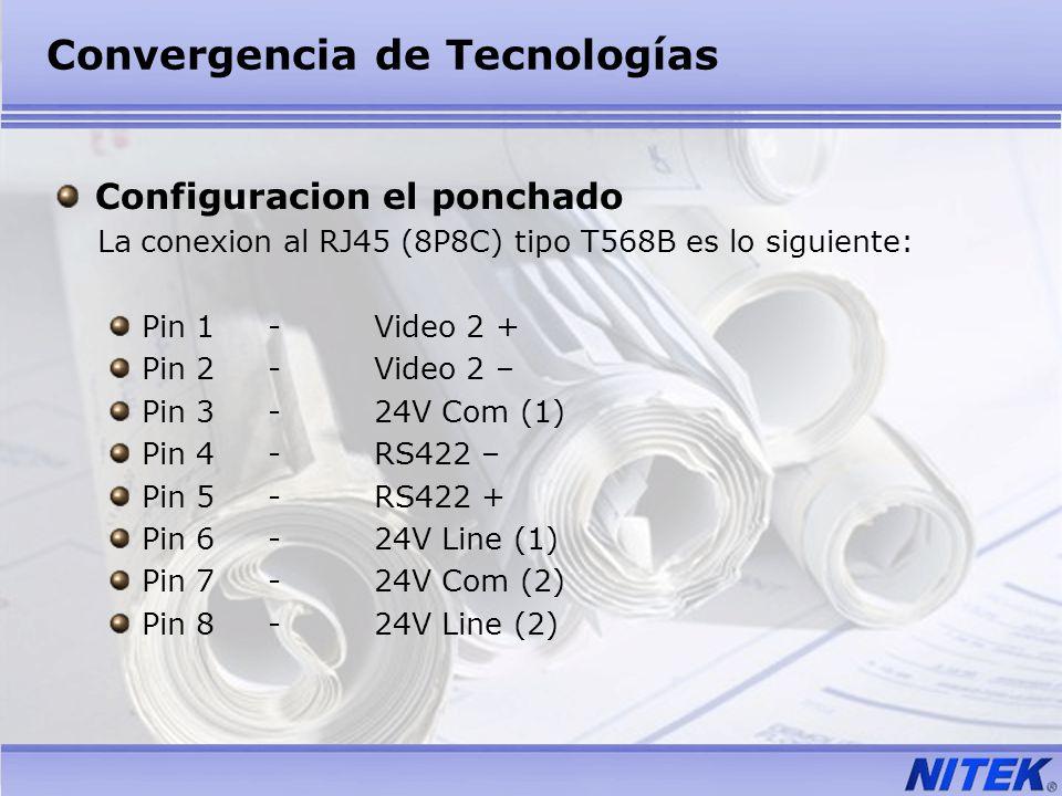 Convergencia de Tecnologías Configuracion el ponchado La conexion al RJ45 (8P8C) tipo T568B es lo siguiente: Pin 1-Video 2 + Pin 2-Video 2 – Pin 3-24V