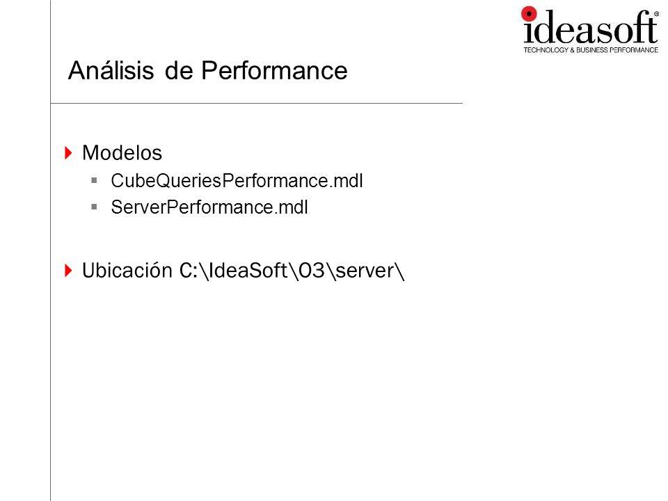 Análisis de Performance Modelos CubeQueriesPerformance.mdl ServerPerformance.mdl Ubicación C:\IdeaSoft\O3\server\