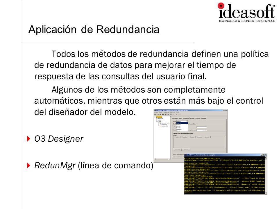 Aplicación de Redundancia Todos los métodos de redundancia definen una política de redundancia de datos para mejorar el tiempo de respuesta de las con
