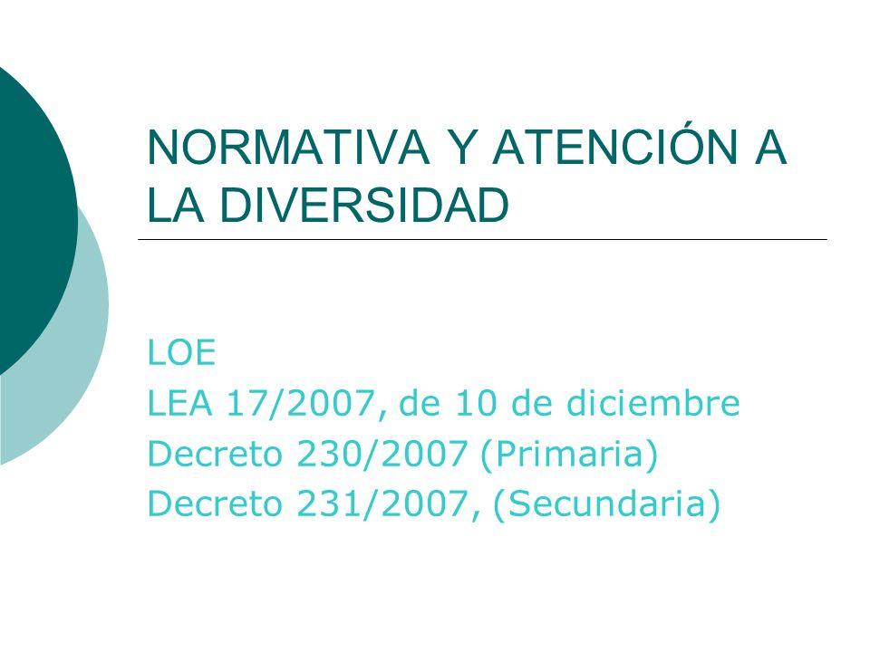 NORMATIVA Y ATENCIÓN A LA DIVERSIDAD LOE LEA 17/2007, de 10 de diciembre Decreto 230/2007 (Primaria) Decreto 231/2007, (Secundaria)