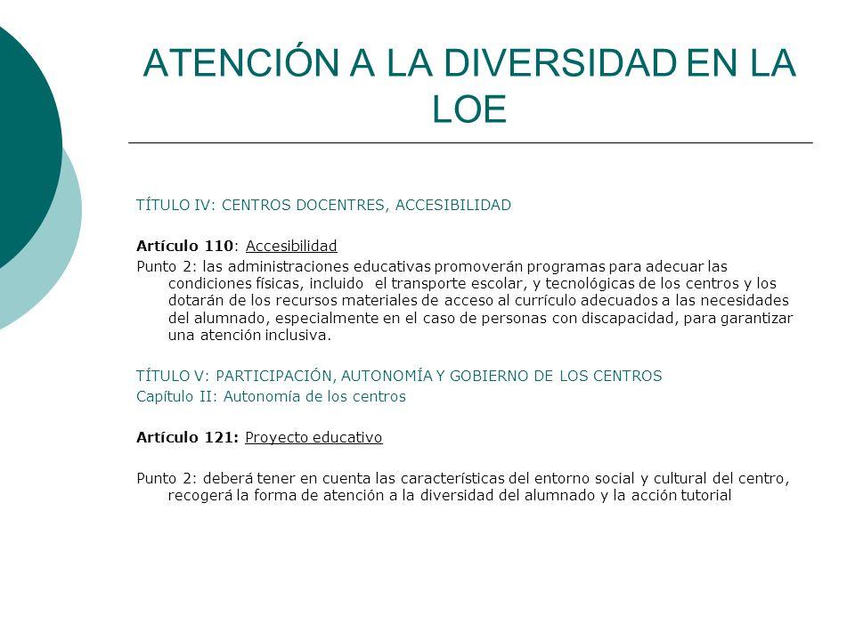 ATENCIÓN A LA DIVERSIDAD EN LA LOE TÍTULO IV: CENTROS DOCENTRES, ACCESIBILIDAD Artículo 110: Accesibilidad Punto 2: las administraciones educativas pr