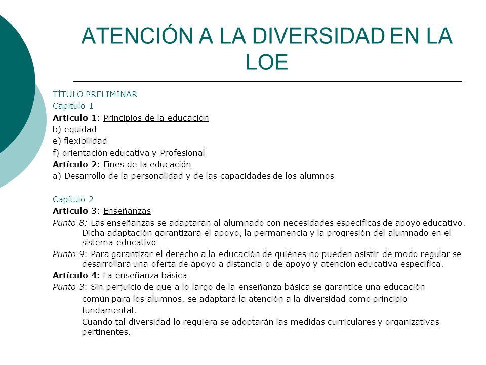 ATENCIÓN A LA DIVERSIDAD EN LA LOE TÍTULO PRELIMINAR Capítulo 1 Artículo 1: Principios de la educación b) equidad e) flexibilidad f) orientación educa