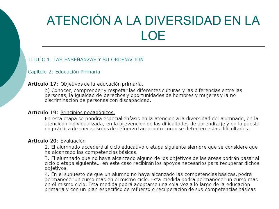 ATENCIÓN A LA DIVERSIDAD EN LA LOE TITULO 1: LAS ENSEÑANZAS Y SU ORDENACIÓN Capitulo 2: Educación Primaria Artículo 17: Objetivos de la educación prim