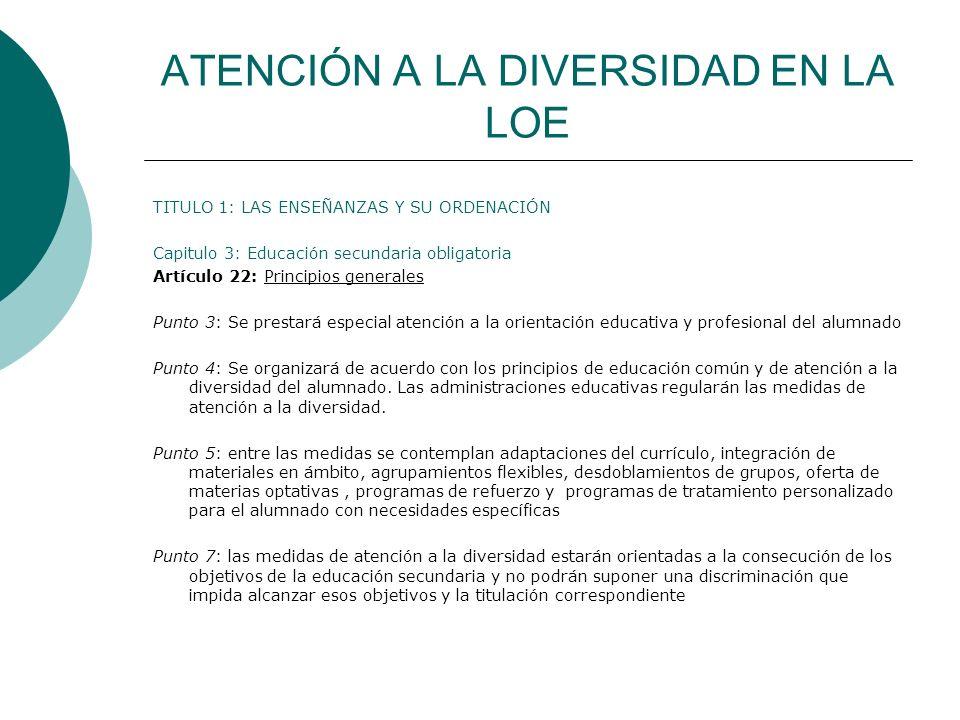 ATENCIÓN A LA DIVERSIDAD EN LA LOE TITULO 1: LAS ENSEÑANZAS Y SU ORDENACIÓN Capitulo 3: Educación secundaria obligatoria Artículo 22: Principios gener