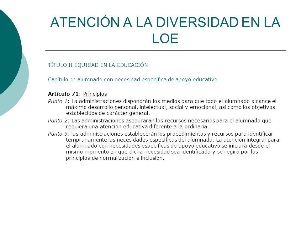 ATENCIÓN A LA DIVERSIDAD EN LA LOE TÍTULO II EQUIDAD EN LA EDUCACIÓN Capítulo 1: alumnado con necesidad específica de apoyo educativo Artículo 71: Pri