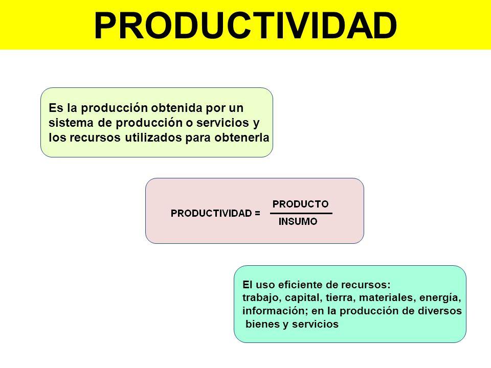 Es la producción obtenida por un sistema de producción o servicios y los recursos utilizados para obtenerla El uso eficiente de recursos: trabajo, cap