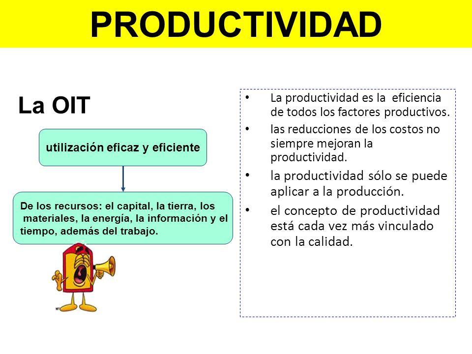 La productividad es la eficiencia de todos los factores productivos. las reducciones de los costos no siempre mejoran la productividad. la productivid