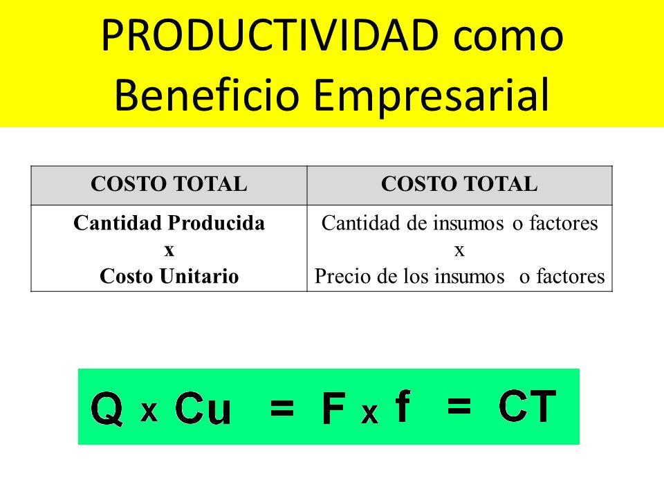 COSTO TOTAL Cantidad Producida x Costo Unitario Cantidad de insumos o factores x Precio de los insumos o factores PRODUCTIVIDAD como Beneficio Empresa