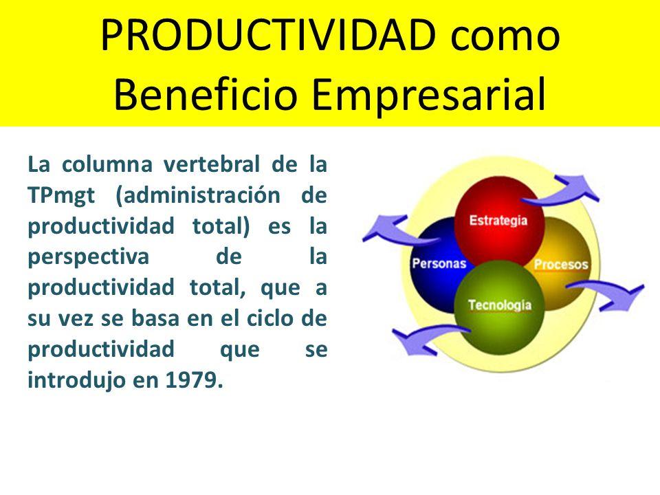 La columna vertebral de la TPmgt (administración de productividad total) es la perspectiva de la productividad total, que a su vez se basa en el ciclo