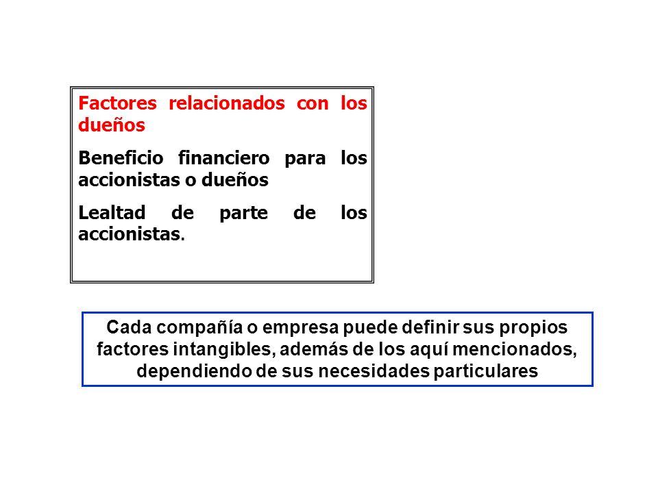 Factores relacionados con los dueños Beneficio financiero para los accionistas o dueños Lealtad de parte de los accionistas. Cada compañía o empresa p
