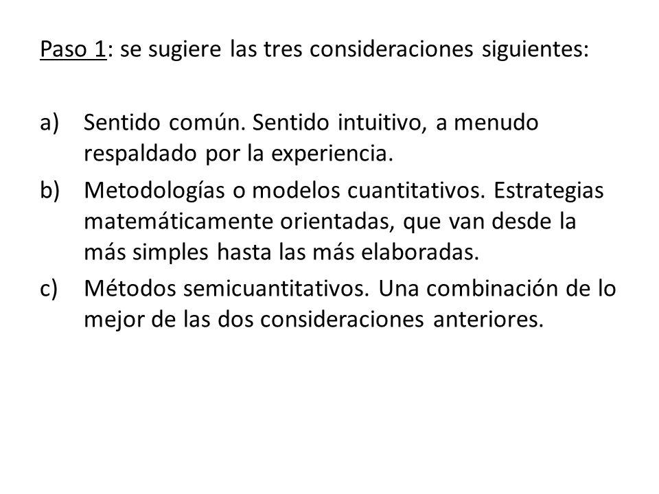 Paso 1: se sugiere las tres consideraciones siguientes: a)Sentido común. Sentido intuitivo, a menudo respaldado por la experiencia. b)Metodologías o m