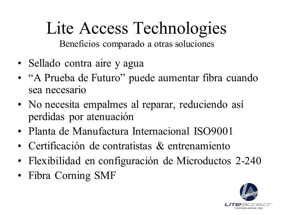 Lite Access Technologies Beneficios comparado a otras soluciones Sellado contra aire y agua A Prueba de Futuro puede aumentar fibra cuando sea necesar