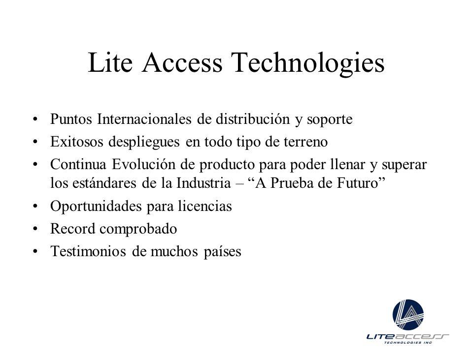 Lite Access Technologies Puntos Internacionales de distribución y soporte Exitosos despliegues en todo tipo de terreno Continua Evolución de producto