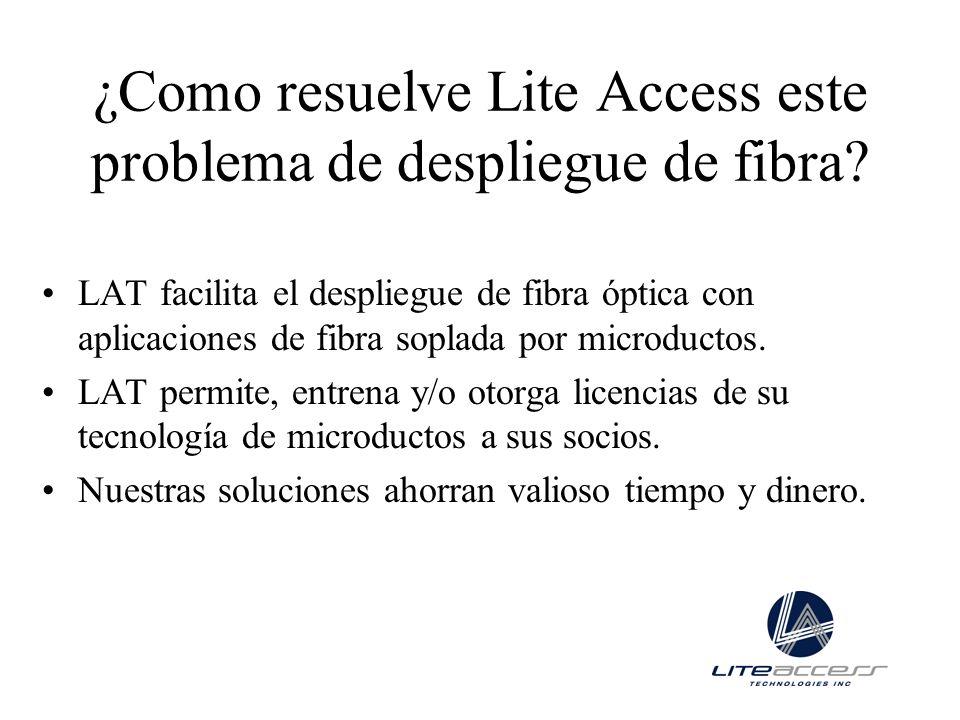 ¿Como resuelve Lite Access este problema de despliegue de fibra? LAT facilita el despliegue de fibra óptica con aplicaciones de fibra soplada por micr