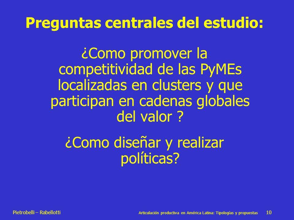 Pietrobelli – Rabellotti Articulación productiva en América Latina: Tipologías y propuestas 10 Preguntas centrales del estudio: ¿Como promover la comp