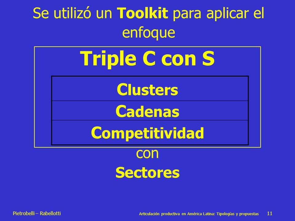 Pietrobelli – Rabellotti Articulación productiva en América Latina: Tipologías y propuestas 11 Se utilizó un Toolkit para aplicar el enfoque Triple C